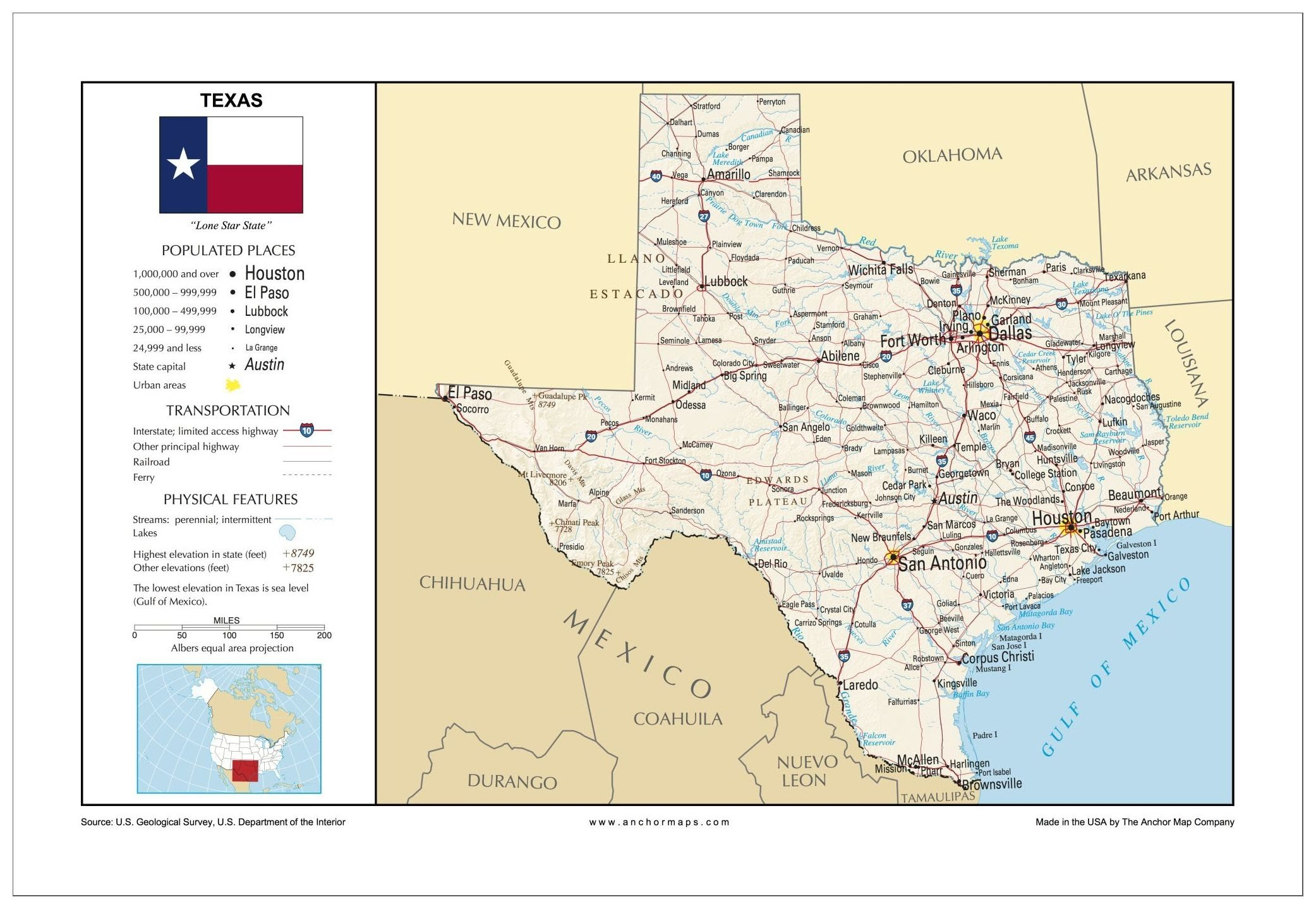13x19 Texas General Reference Wall Map - Anchor Maps USA Foundational Series - Cities, Roads, Physical Features, and Topography [ROLLED] by Anchor Maps