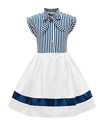 26cf4d59490 BlackButterfly Kids 'Polly' Vintage Striped Pin Up Dress (Blue, 7-8 YRS)  Years: Amazon.in: Clothing & Accessories
