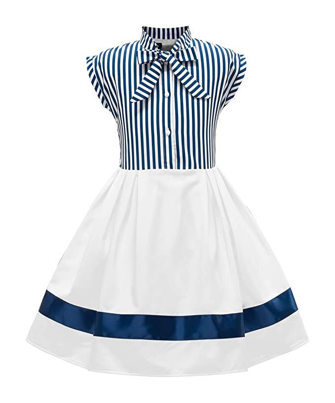 Kids 1950s Clothing & Costumes: Girls, Boys, Toddlers BlackButterfly Kids Polly Vintage Striped Pin Up Dress $35.99 AT vintagedancer.com