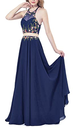 LOVIER Prom Dress Chiffon Embroidery One-Piece Homecoming Dress Evening Dress For Women 2018(