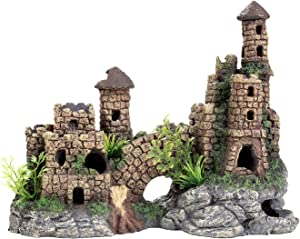 Aquarium Ornament Castle Hideout Aquarium Decorations Large Fish Tank Decorations Resin Handicrafts L9.6 x W5.3 x H7.5 Inches