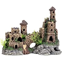 Aquarium Decorations Ancient Castle Ruin Ornament Hideout Fish Tank Decorations Large L9.6 x W5.3 x H7.5 Inches