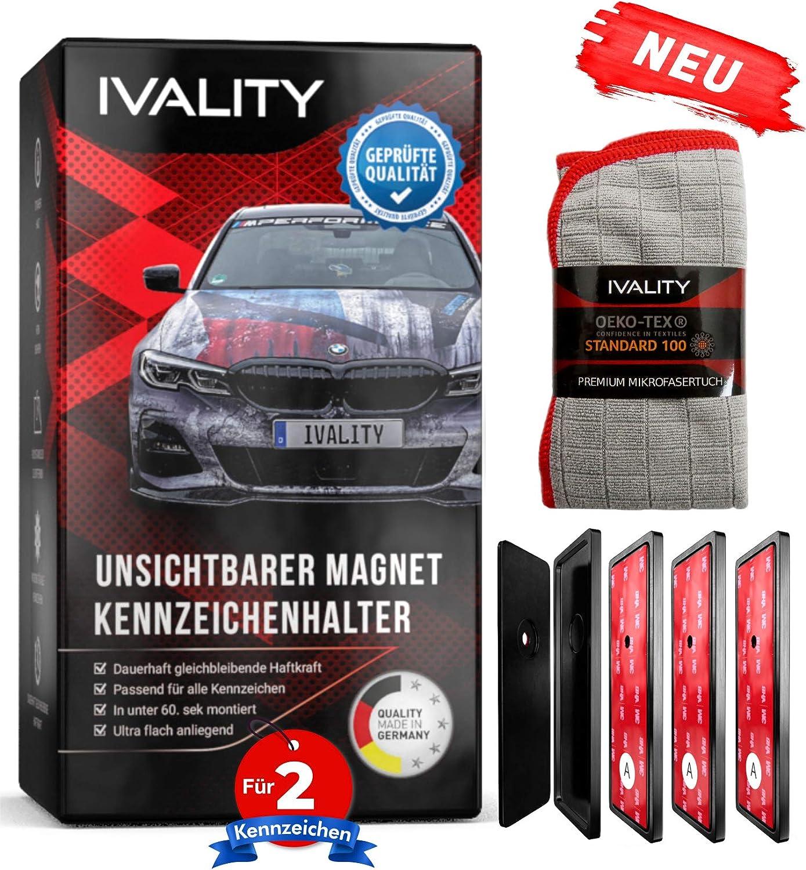 Ivality Kennzeichenhalter Rahmenlos Hochwertiger Magnet Kennzeichenhalter Nummernschildhalterung Auto Für 2x Kennzeichen Auto