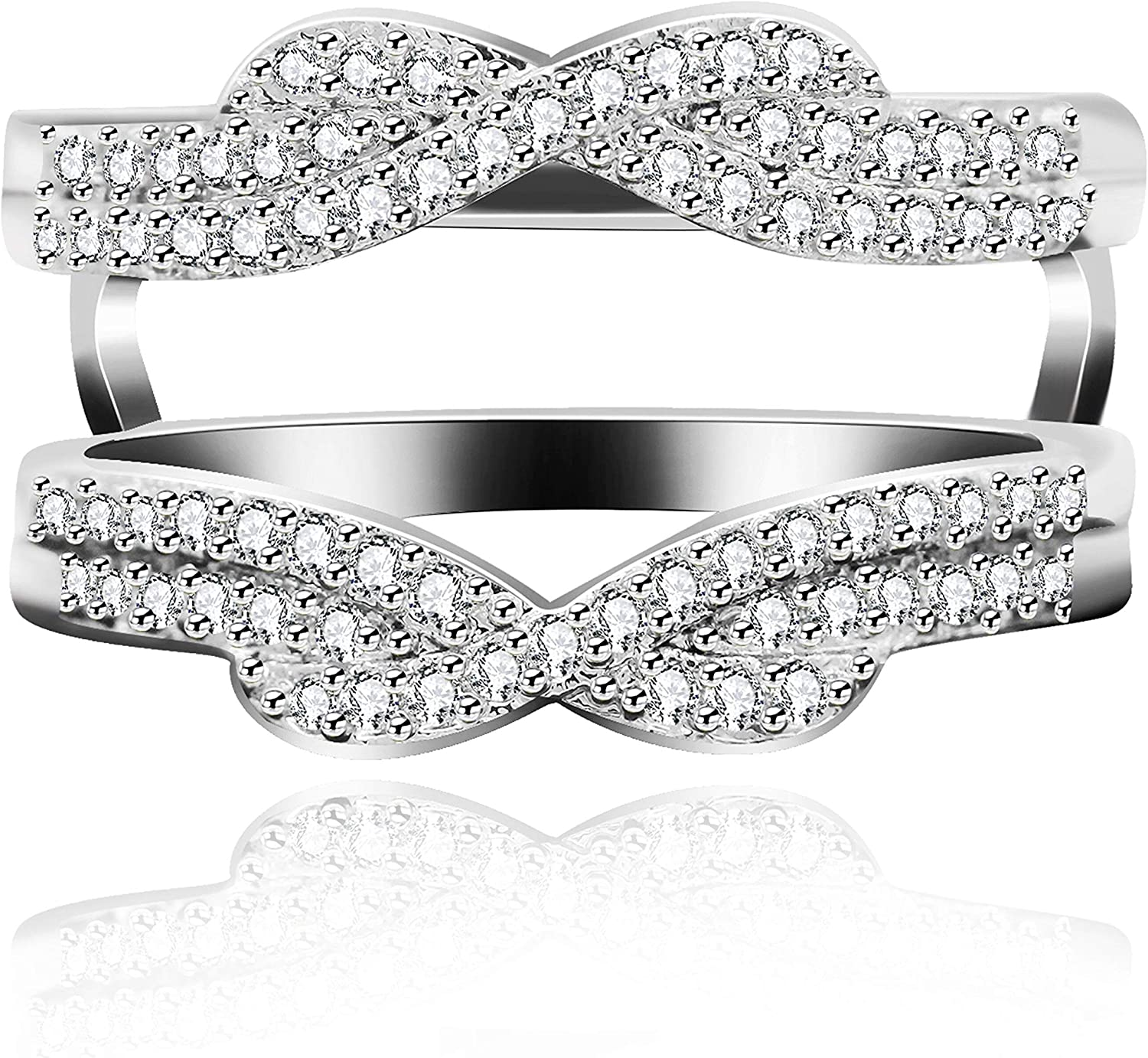Uloveido Platinum Plated Infinity Love Ring Enhancer Cubic Zirconia Wedding Band Guard Double Engagement Ring Y479