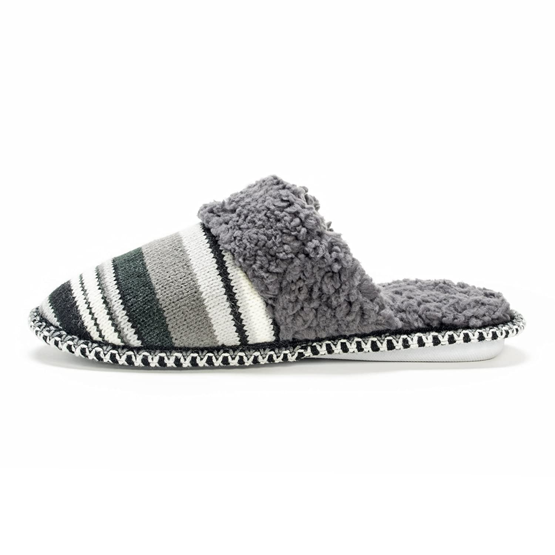 MUK LUKS Womens Fairisle Knit Scuff-Stripe