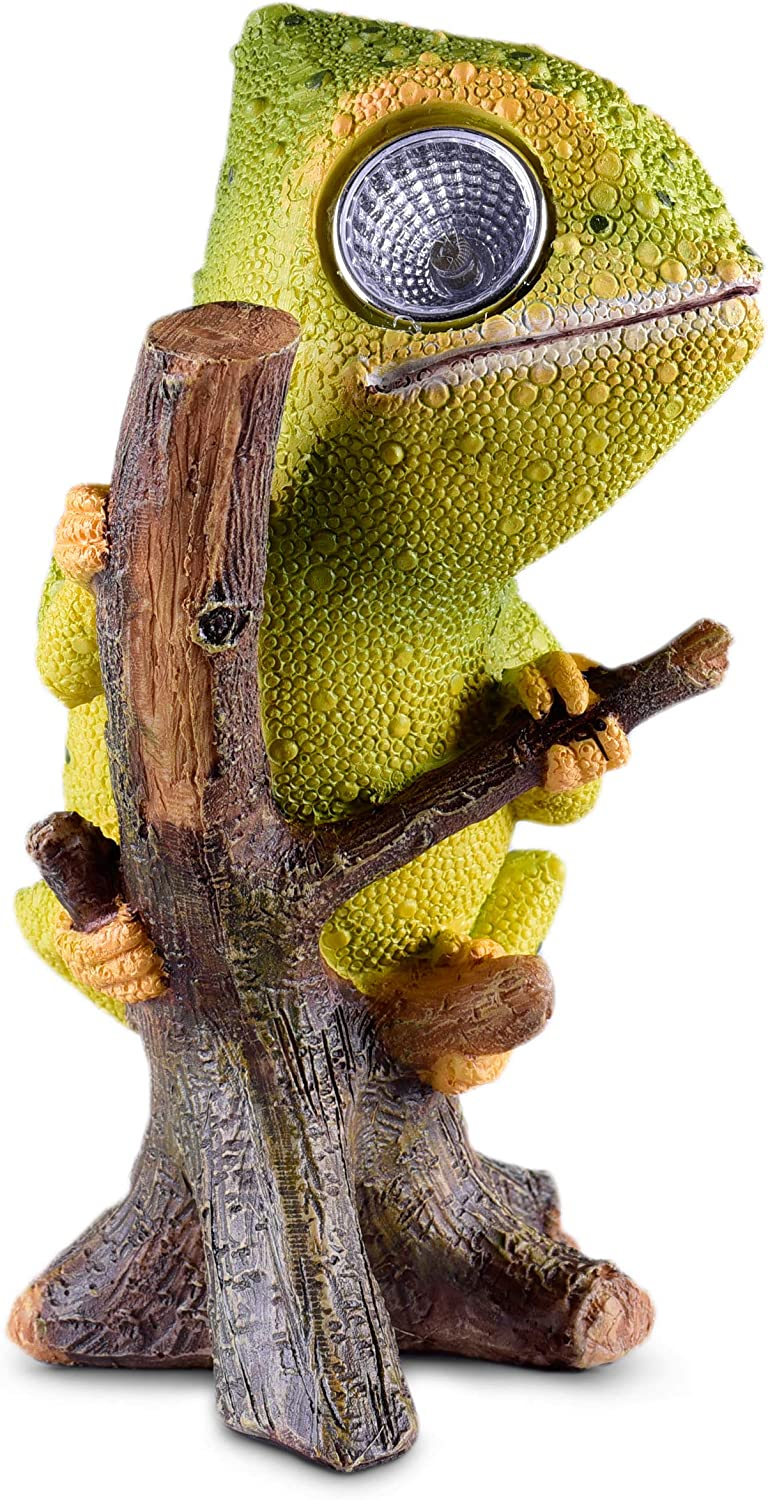 Chameleon Solar Garden Decorations Figurine | Outdoor LED Decor Figure | Light Up Decorative Statue Accents for Yard, Patio, Lawn, Balcony, or Deck | Great Housewarming Gift Idea (Green, 1 Pack)