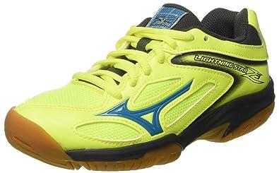 Mizuno V1GD1703, Chaussures de Sport Mixte Enfant - Multicolore - Multicolore (SafetyYellowAtomicBlue/DarkShadow 46), 38.5 EU EU