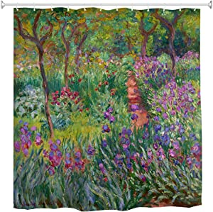 WIHVE Monet Flower Shower Curtain Fabric, Iris Garden at Giverny Monet Art Tree Shower Curtain for Bathroom Home Decor Sets 60 x72 Inch with 12 Hooks