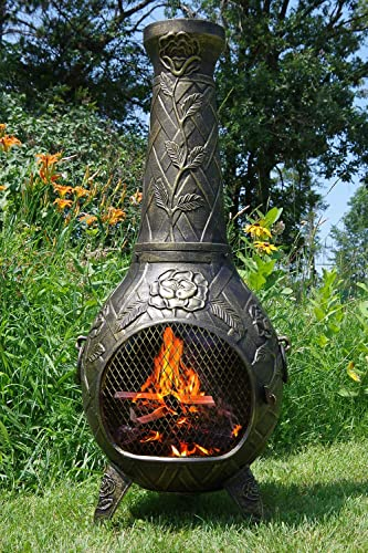 The Blue Rooster Rose Chiminea Gold Accent