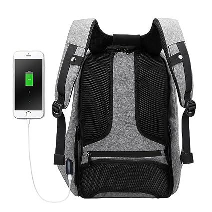 Mochila antirrobo, para ordenador portátil, estilo ejecutivo, con puerto de carga USB, impermeable, para ir de viaje, al colegio, etc., con compartimento ...