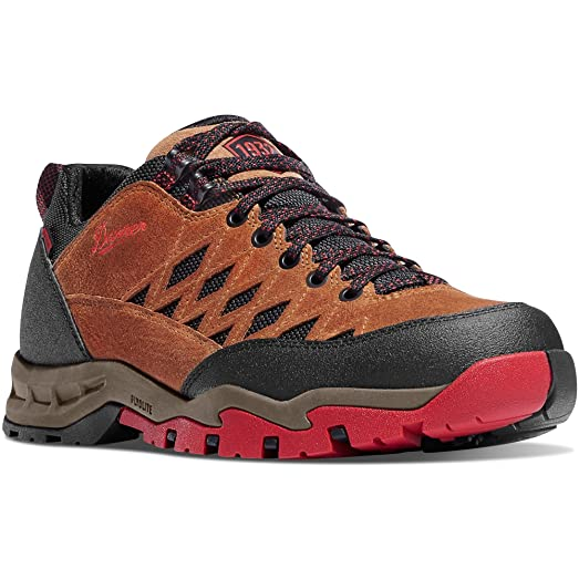 "TrailTrek Light 3"" Brown/Red Vibram Sole Outdoor Boots  Waterproof Hiking Combat Boot  Mountain Boot  Downhill Braking and Side-Hill Traction  Made In USA"