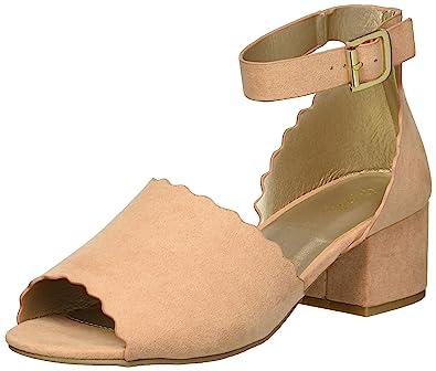 Qupid Women s Low Chunky Heel Heeled Sandal Blush 5.5 ...