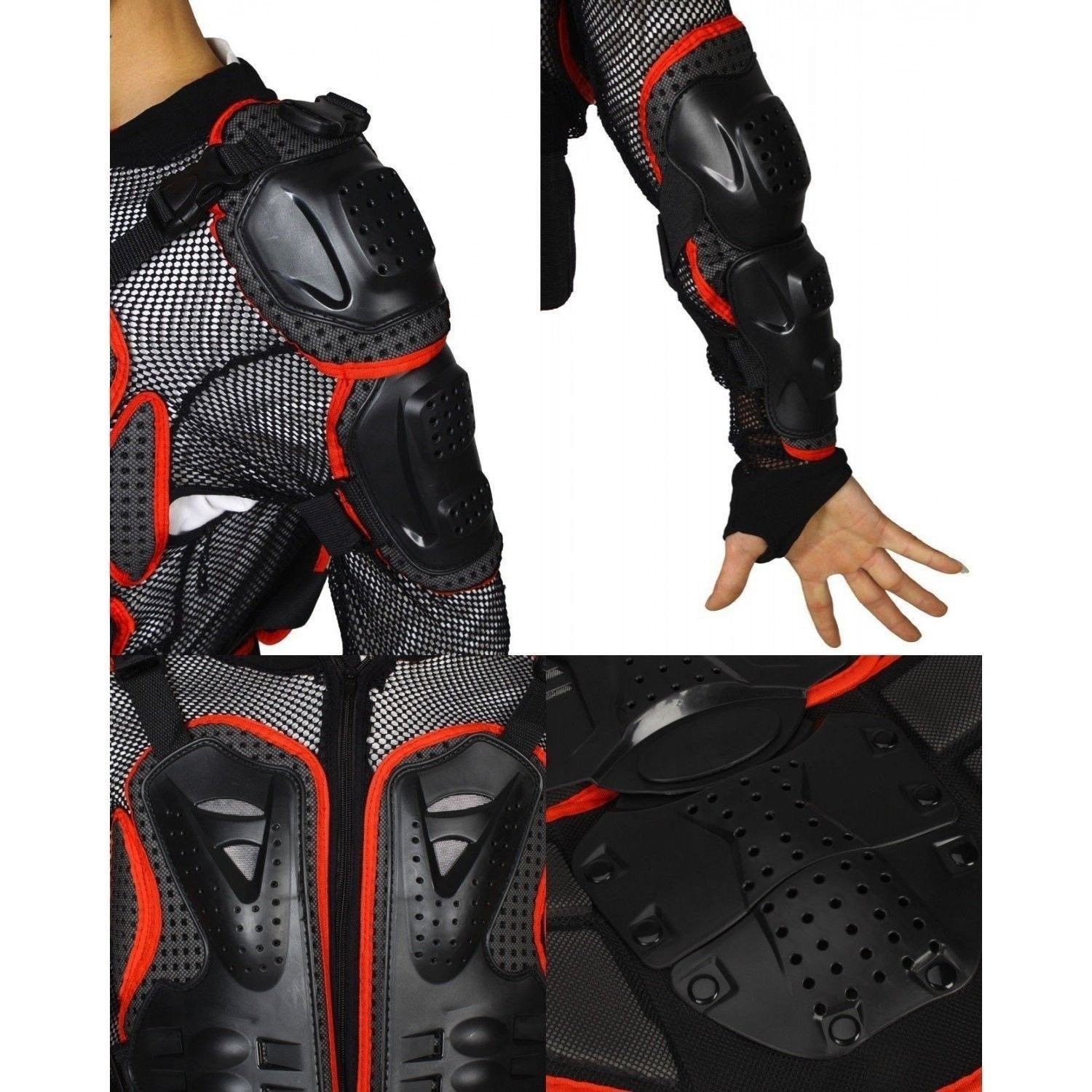 Size M red Motorcycle Parts Full Body Protective Jacket Spine Chest Gear Armor Off Road Protector Motorcross Racing Clothing Fit For 1999 2000 2001 2002 2003 2004 2005 2006 Suzuki HAYABUSA/GSXR1300 2007