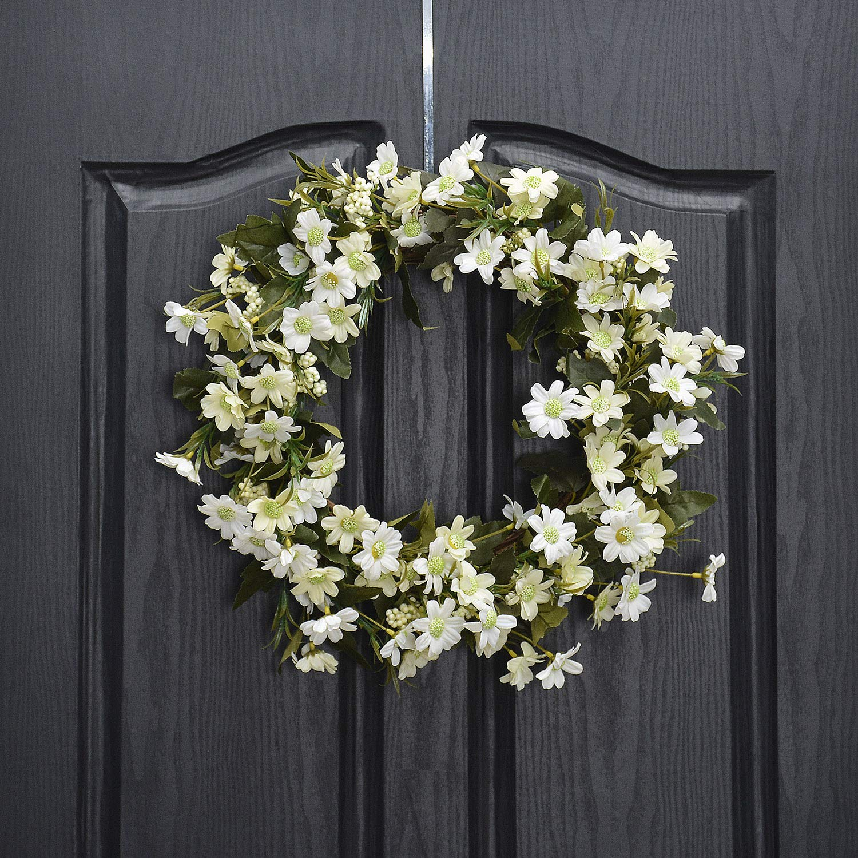 QUNWREATH Handmade 11 inch Wild Flowers Series Wreath,Leaf,Fall Wreath,Wreath for Front Door,Rustic Wreath,Farmhouse Wreath,Grapevine Wreath,Light up Wreath,Everyday Wreath,QUNW02