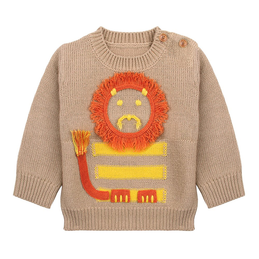 MiMiXiong Baby Boys Pullover Knit Sweater Newborn Cute Cartoon Lion Tops 82W268