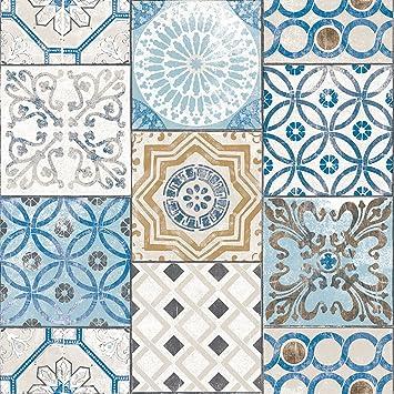 Haokhome 3113 Papel Pintado Mosaico Estilo Marroqui De Color Azul