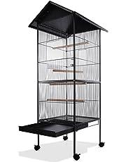 Deuba Volière cage à oiseaux metal canaries perroquet perruches hauteur 157cm