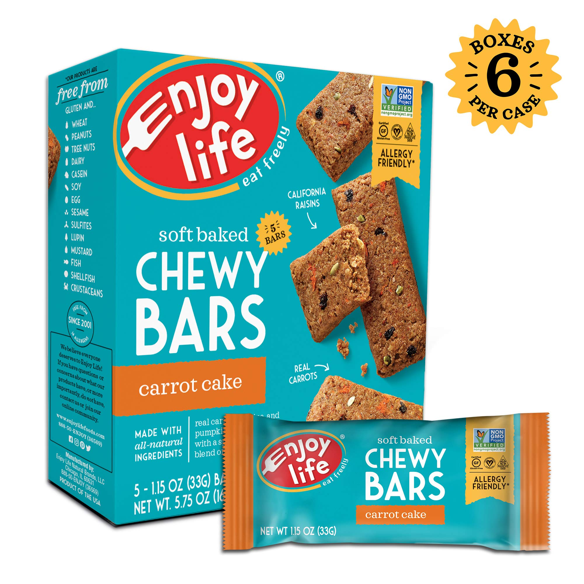 Enjoy Life Chewy Bars, Soy free, Nut free, Gluten free, Dairy free, Non GMO, Vegan, Carrot Cake, 6 Boxes (30 Bars) by Enjoy Life Foods