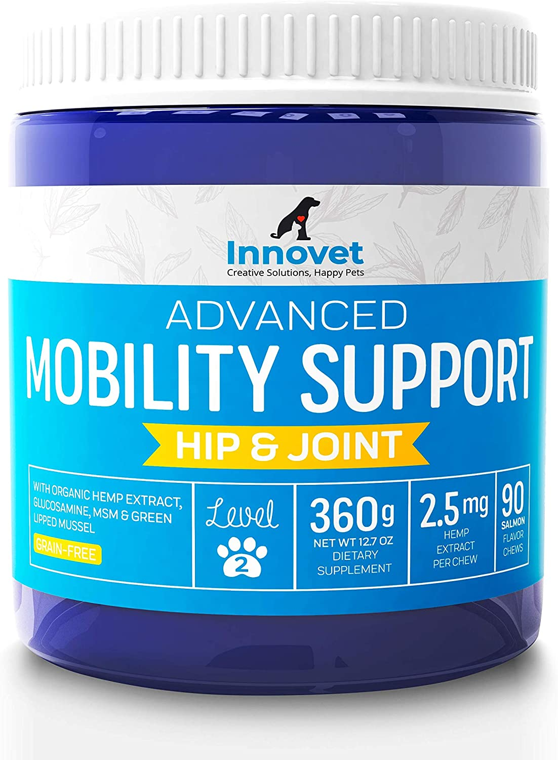INNOVETPET Advanced Mobility Chews For Dogs – (90 Chews) Dog Treats, Hip & Joint Supplement With MSM, Green Lipped Mussel, Vitamin C & E, Glucosamine for Dogs, Organic Terpene Extract Boosts Immunity