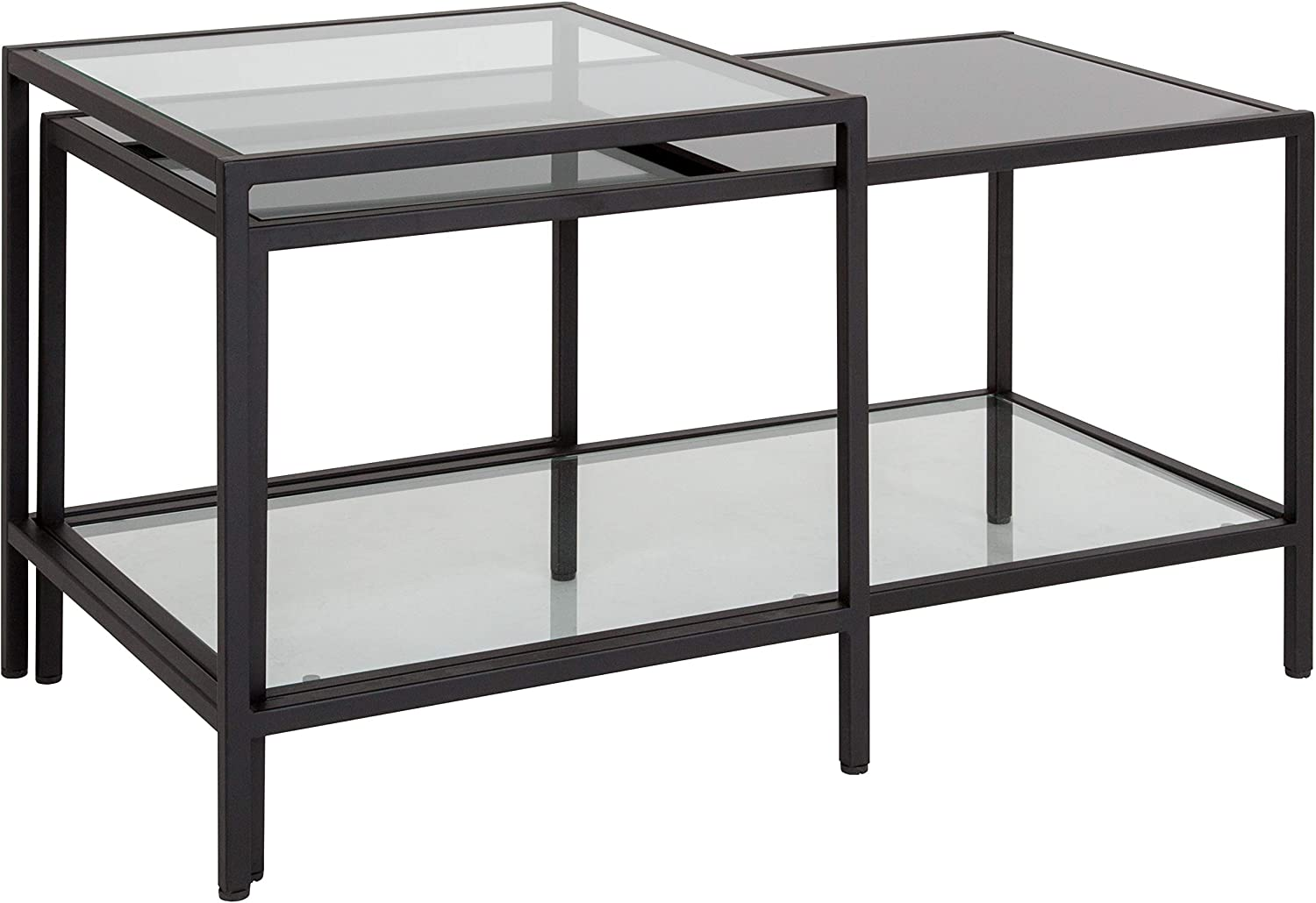 Flash Furniture Westerly Multi-Tiered Glass Coffee Table with Black Metal Frame