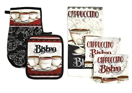 Bistro Paris Kitchen Towel Linen Set of 5 Piece | 1-Towel 1-Pot Holder  1-Oven Mitt 2-Dish Cloths | Cappuccino Cup Printed Kitchen Decor Set For ...