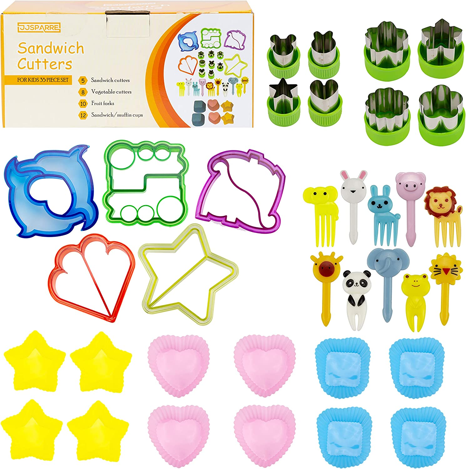 Sandwich Cutters for Kids, Mini Forks, Vegetable Cutter Set, Muffin cups (35 Piece Set) Fun and Cute Shaped Cookie Cutter or Bread Cutter - Large Food Cutter Set for Kids Lunch Boxes