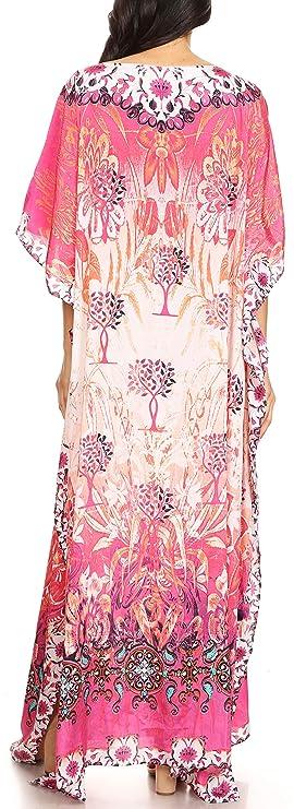 049e297d5ae Sakkas 1820 - Jabari Women s Maxi Short Sleeve Long Beach Kaftan Dress Boho  Loose Gown - FLM100-Multi - OS  Amazon.co.uk  Clothing