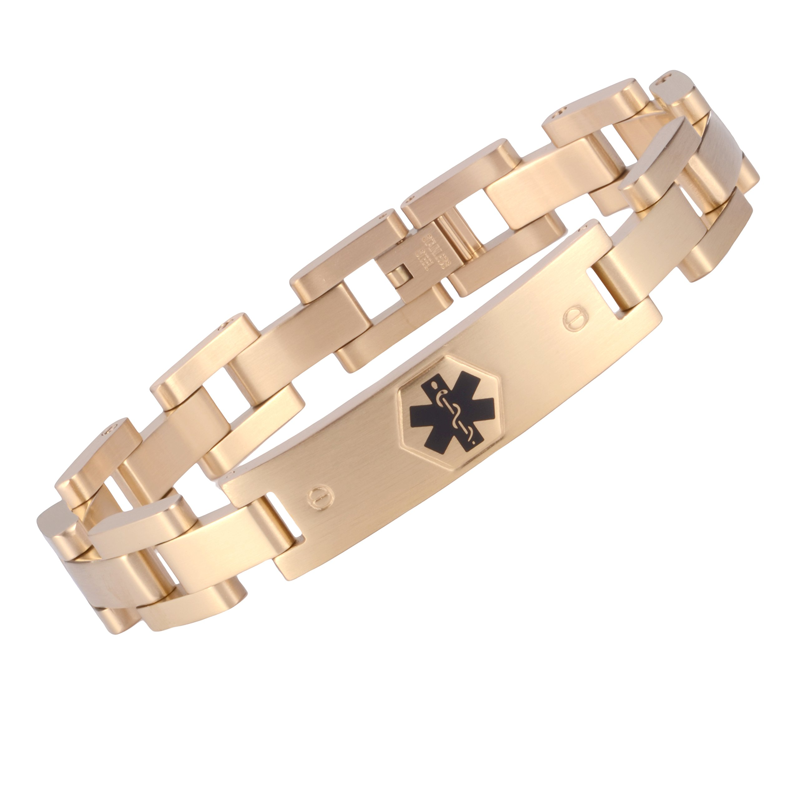 Tarring The military style medical id bracelet jewelry for men and women(GOLD)(7.0)
