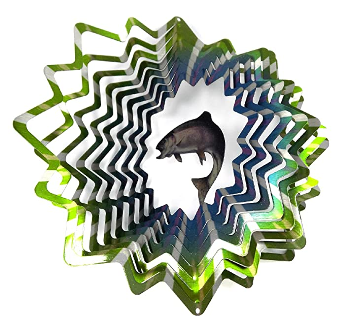 WorldaWhirl Whirligig 3D Wind Spinner Hand Painted Stainless Steel Twister Trout Fish (12 inch, Multi Color)
