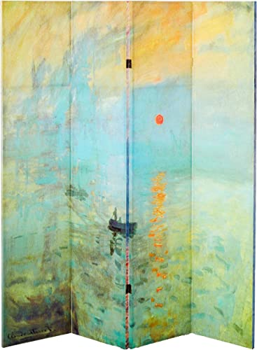 Oriental Furniture 6 ft. Tall Double Sided Works of Monet Canvas Room Divider – Impression Sunrise Houses of Parliament