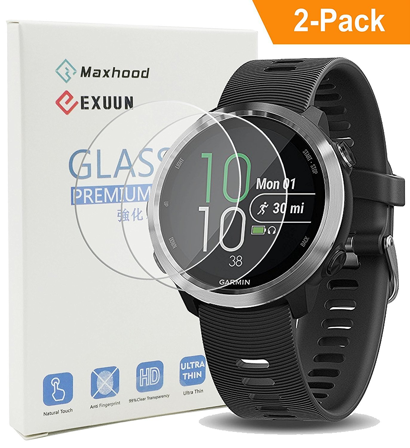 Exuun (2-Pack) Garmin Forerunner 645/645 Music Tempered Glass Screen Protector, 9H Premium Real Tempered Glass Screen Protector 2.5 D Round Edge Anti Scratch Screen Protector for Garmin 645