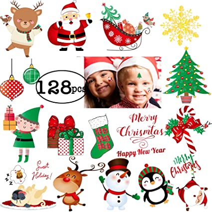 128pcs new year tattoos for kids happy holiday 2018 temporary stickers happy new year