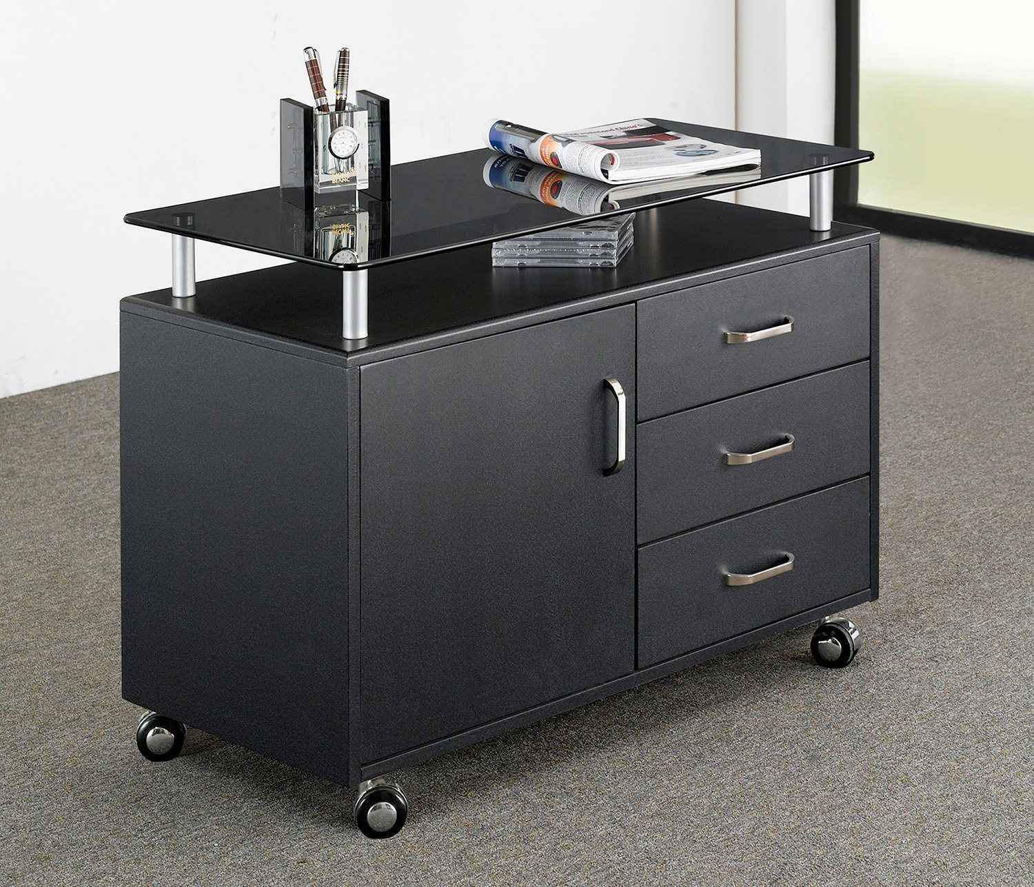 Rolling Storage Cabinet With Frosted Glass Top. Color: Graphite by Techni Mobili (Image #7)