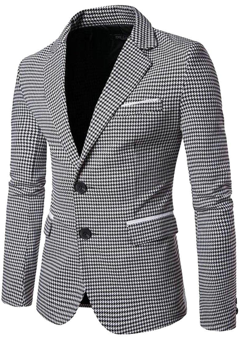 xtsrkbg Men Lapel Long Sleeve Single Breasted Houndstooth Blazer Jacket 1 XS