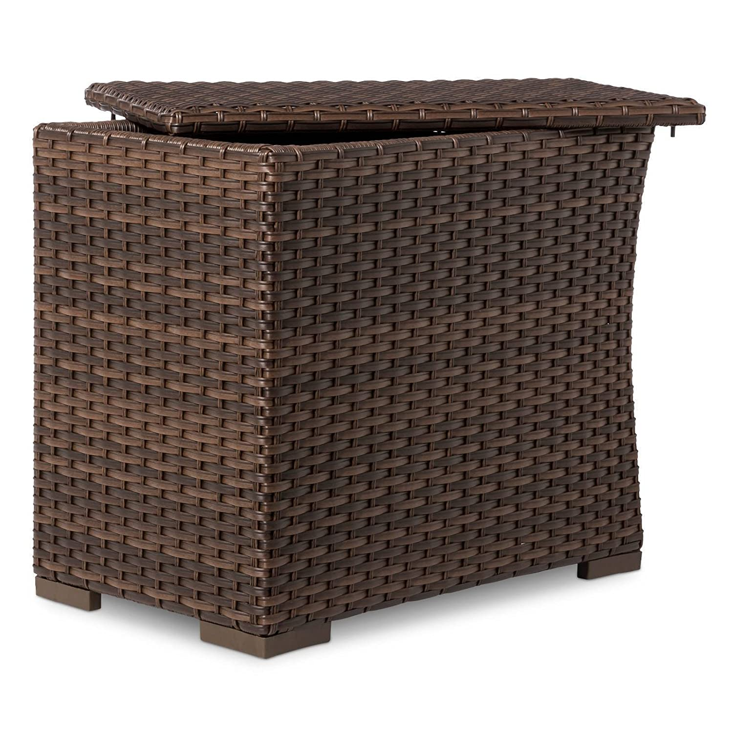 Amazon com halsted wicker patio sectional side table garden outdoor