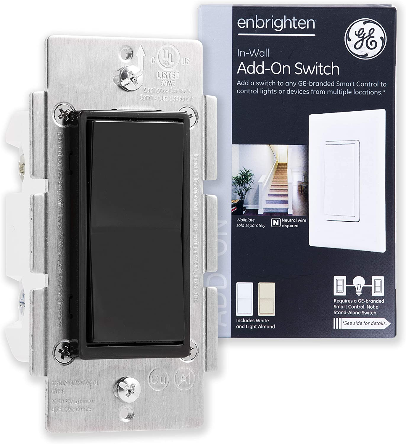 GE Add Z-Wave, ZigBee Bluetooth Wireless Smart Lighting Controls, NOT A STANDALONE Switch, Black Paddle, 35545, Compatible with Alexa