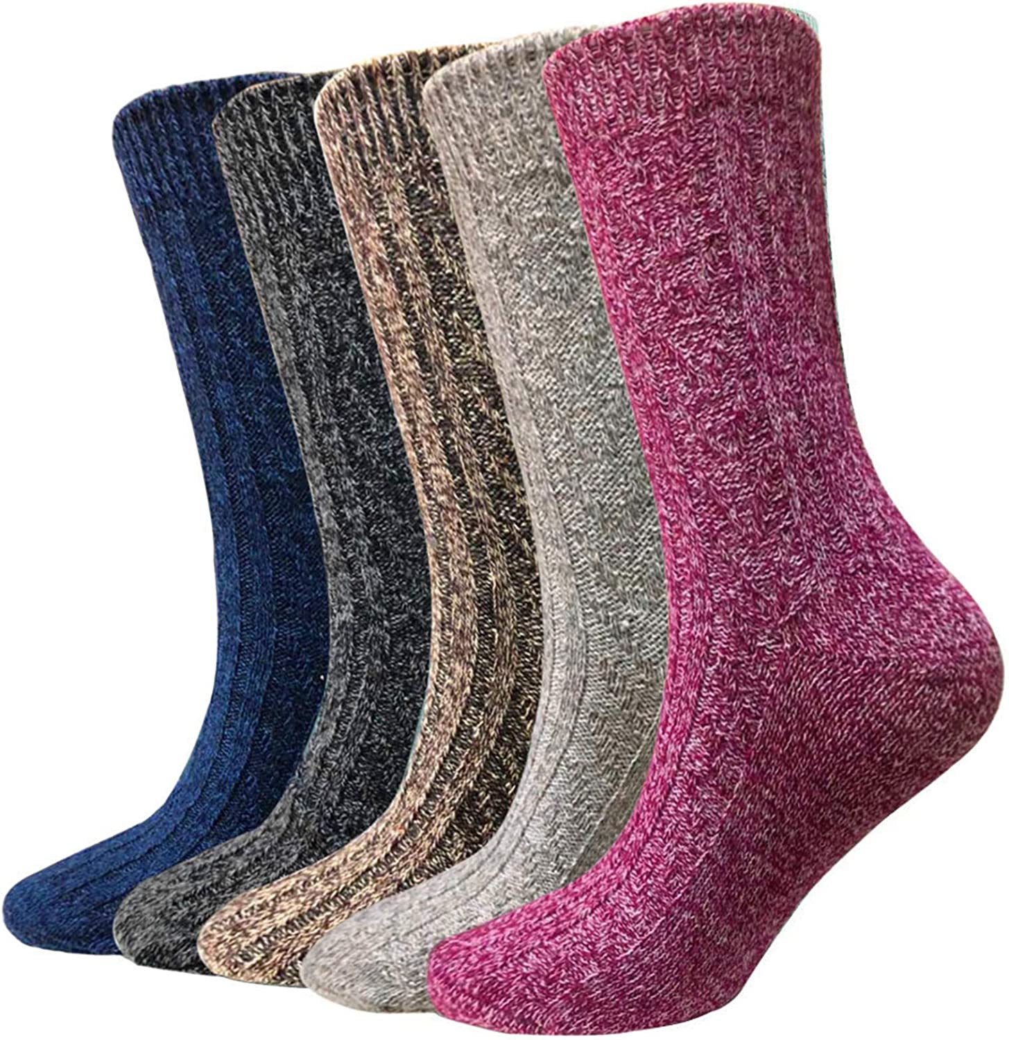 Wool Socks for Women 5 Pairs Hiker Winter Soft Thick Warm Boot Cozy Crew Knit Socks Gifts