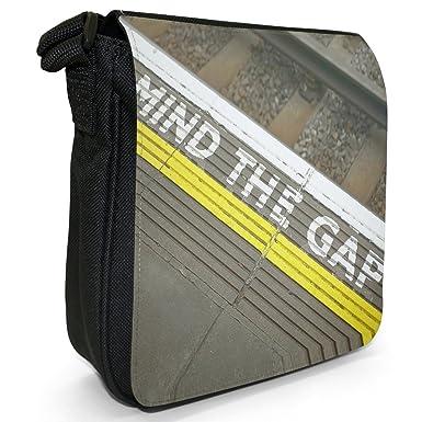 48a5d730e8 Mind The Gap Sign on London Underground Small Black Canvas Shoulder Bag    Handbag  Amazon.co.uk  Clothing