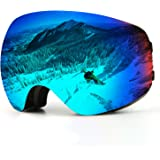 Kasliny Ski Goggles, Over Glasses Snowboard Goggles for Men, Women, Youth or Kids - UV400 Protection and Anti-Fog - Double Grey Spherical Lens Comfortable for Skating Skiing Snowmobiles