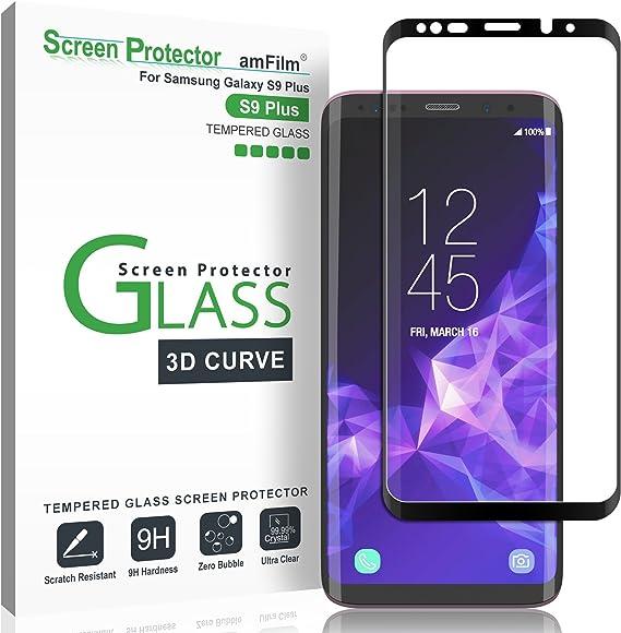 Protector de Pantalla Galaxy S9 Plus, amFilm Anti-Burbujas (3D Curvo) Cristal Vidrio Templado Protector de Pantalla para Samsung Galaxy S9 Plus (Negro): Amazon.es: Electrónica