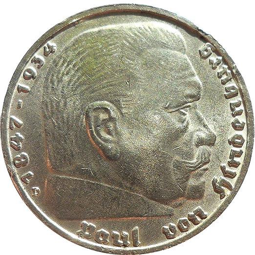 Münze Silbermünze 5 Reichsmark 1938 D Drittes Reich Paul Von