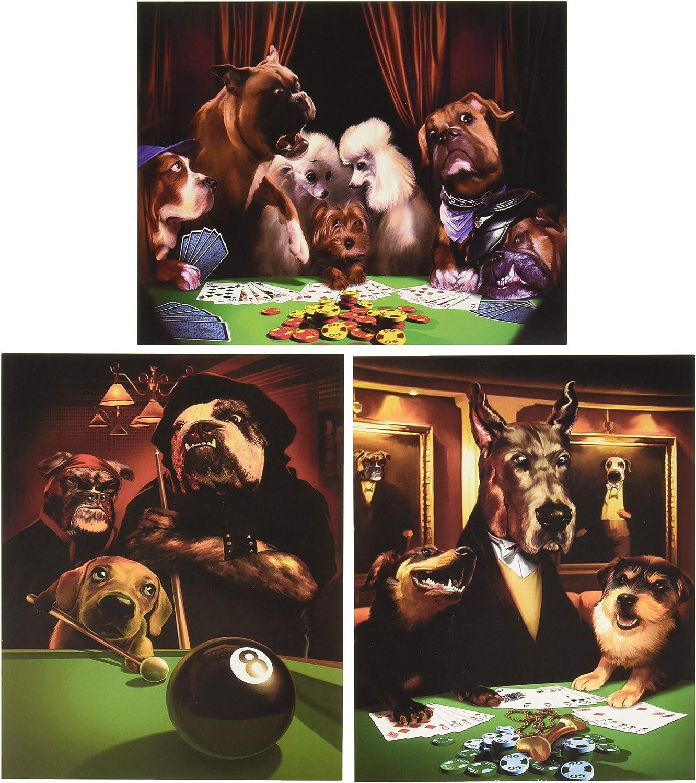 wallsthatspeak Impresiones de Perros Jugando al póquer Piscina, 8 por 25,4 cm, Color Negro/marrón/Verde, Juego de 3: Amazon.es: Hogar