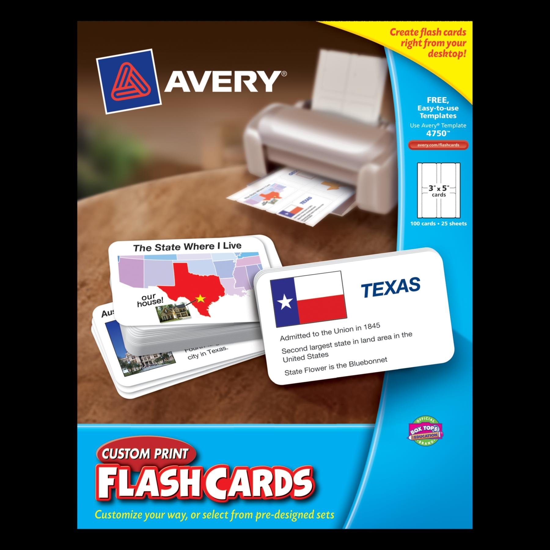 Avery Custom Print Flash Cards, 3 x 5 Inches, for Inkjet and Laser Printers, 100 Pack (04750) by Avery (Image #2)