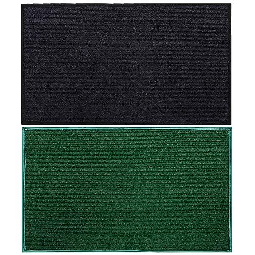 """Kuber Industries Microfiber Anti Slip 2 Pieces Door Mat 14""""x21""""(Grey & Green) -CTLTC11438"""