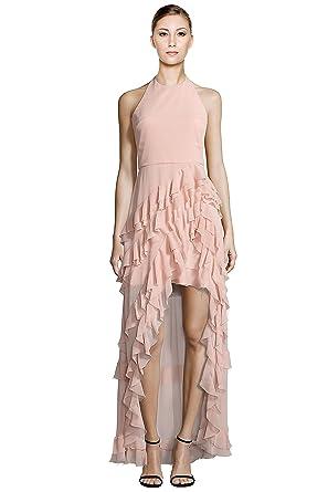 alice + olivia Carma Ruffle Hi-Lo Halter Evening Gown Dress at ...