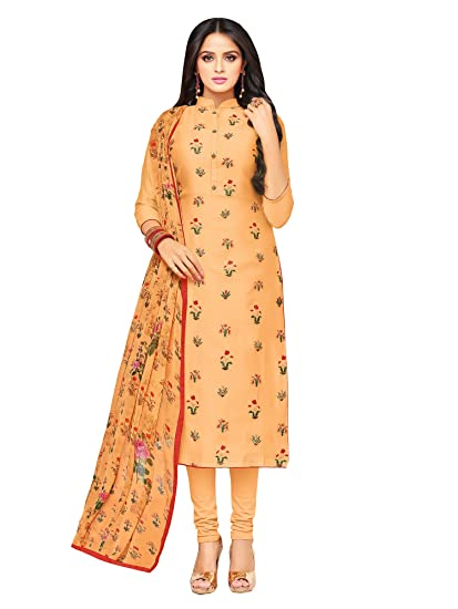 022f924cc0 Applecreation Women'S Cotton Chanderi Unstitched Dress Material (Peach_Free  Size): Amazon.in: Clothing & Accessories