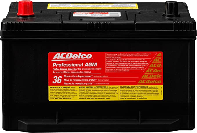 ACDelco 65AGMHR Professional A.G.M. Automotive BCI Group 65 Battery