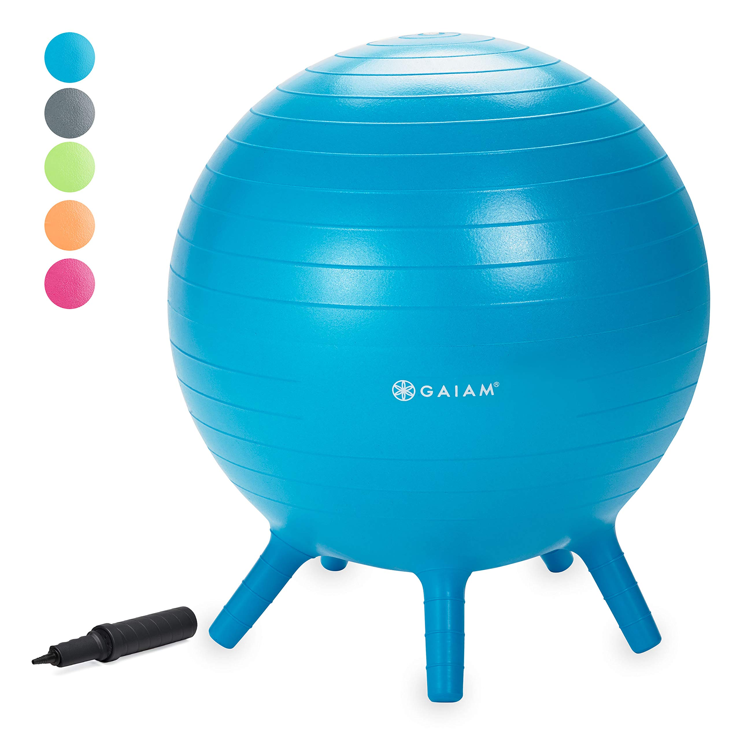 Gaiam Kids Stay-N-Play Children's Balance Ball - Flexible School Chair, Active Classroom Desk Seating with Stay-Put Stability Legs, Includes Air Pump, Blue, 45cm by Gaiam