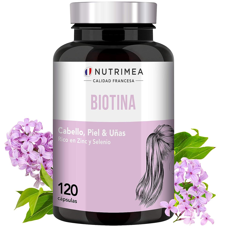 Biotina Zinc Selenio Vitamina B Crecimiento y Fortalecimiento del Cabello Barba Uñas Piel Biotin Natural Complemento Alimenticio Vegano Perdida de ...