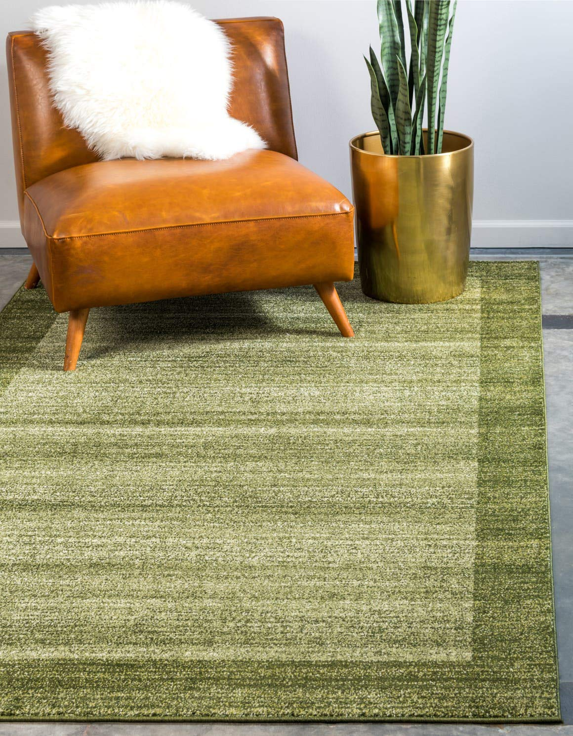 Unique Loom Del Mar Collection Contemporary Transitional Light Green Area Rug 5 0 x 8 0